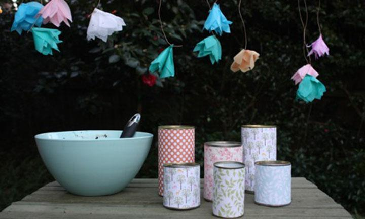 Tin can flower pots