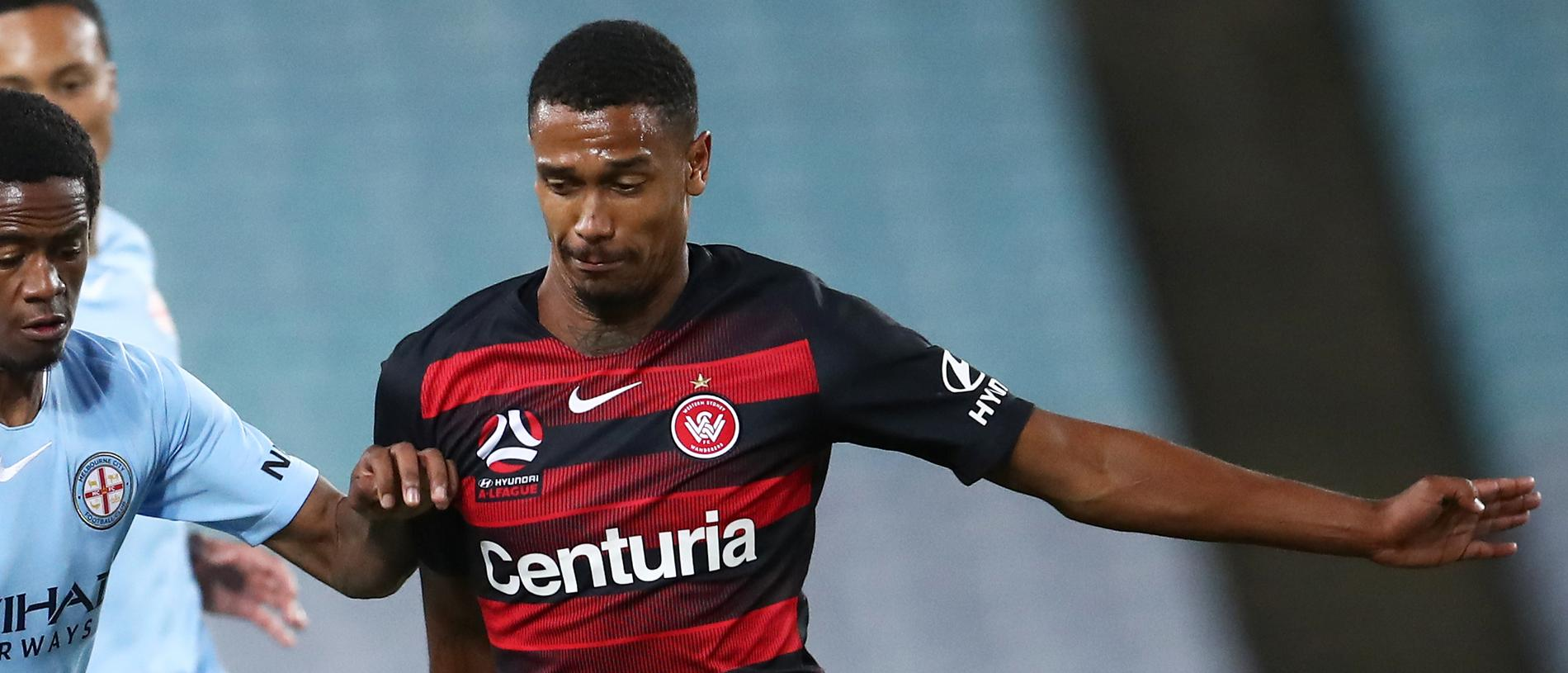 Shayon Harrison of Melbourne City competes with Rashid Mahazi of the Wanderers during the Round 23 A-League match between the Western Sydney Wanderers and Melbourne City FC at ANZ Stadium, Sydney, Saturday March 30, 2019. (AAP Image/Brendon Thorne) NO ARCHIVING, EDITORIAL USE ONLY