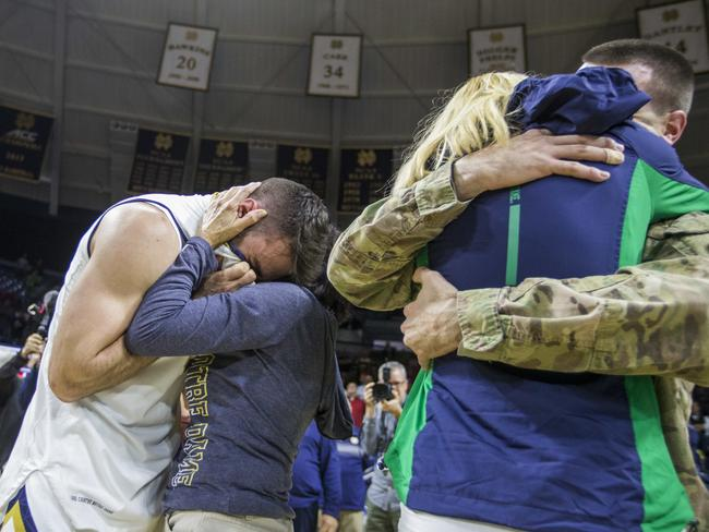 The family back together. Picture: Robert Franklin/AP