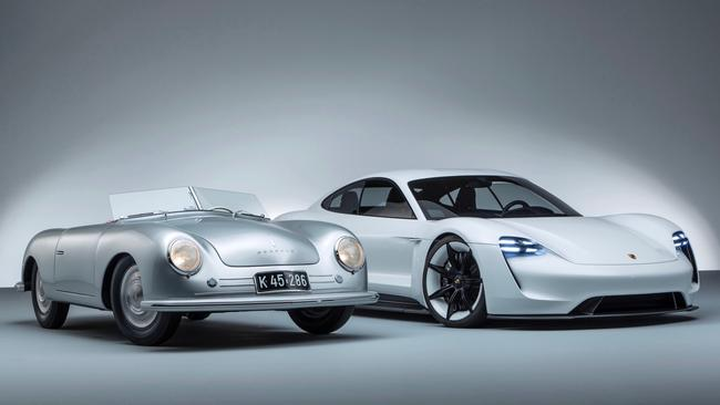 The original Porsche with the company's vision of the future, the Taycan. Picture: Supplied.