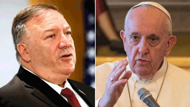 US secretary of state, Mike Pompeo, left, and Pope Francis. Pictures: AFP