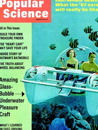 PERSONAL SUBMARINE July 1966: A couple tours the deep in a mini bubble sub. DID IT HAPPEN? Yes, this illustration is actually amazingly close to what today's personal subs, which are mainly manufactured for the luxury market and deep-sea research teams, look like. Haven't seen one beachside? That's because they cost around $1 million.