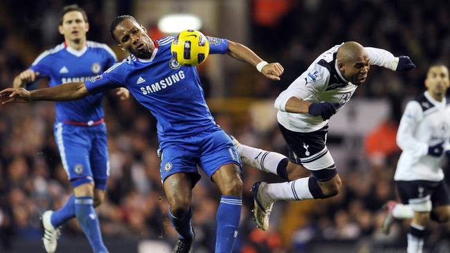 Didier Drogba (2nd L) vies with Tottenham Hotspurs' Honduran player Wilson Palacios (2nd R) in 2010.