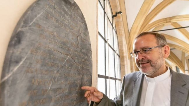 The long-lost gravestone of Baroness Sophia Maria von Erthal. Picture: Press Offive Archishopric Bamberg/Dominik Schreiner