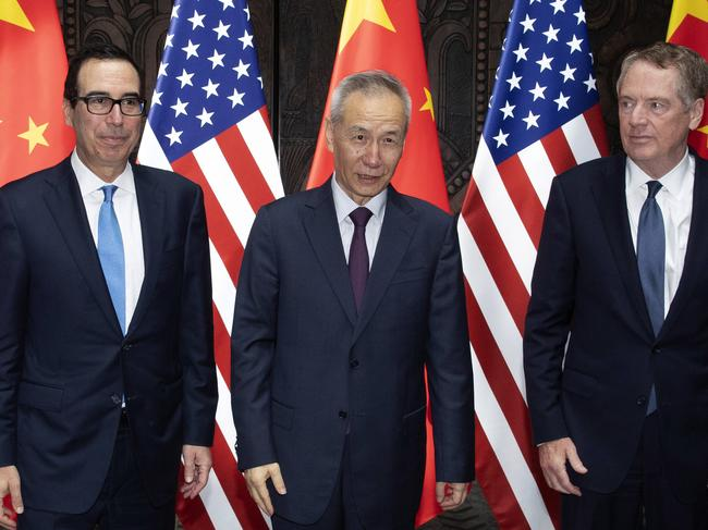Chinese Vice Premier Liu He (C), US Trade Representative Robert Lighthizer (R) and Treasury Secretary Steven Mnuchin at the Xijiao Conference Center in Shanghai. Picture: AFP