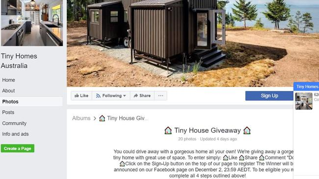 Screenshots from the fake tiny home giveaway page which did not respond to queries.