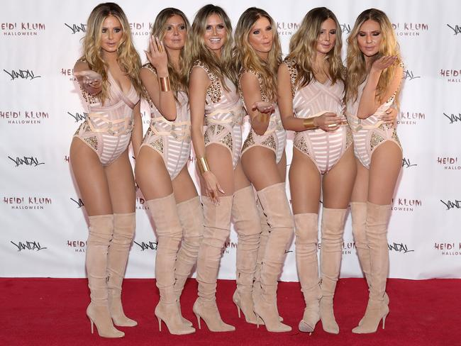 Klum herself (third from left) admitted this effort from Halloween 2016 was a bit 'meh' by her usual standards. Picture: Getty