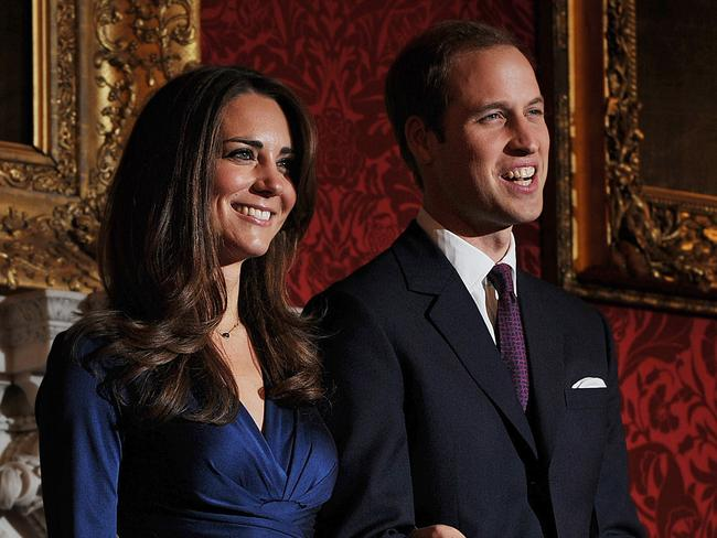 Prince William and his Kate Middleton on the day their engagement was announced in 2010. Picture: AFP/Ben Stansall
