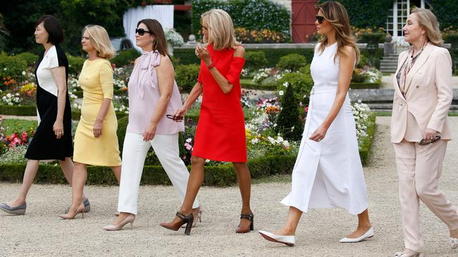 (From back L) Japan's Prime Minister's wife Akie Abe, European Council President's wife Malgorzata Tusk, Australia's Prime Minister's wife Jenny Morrison, wife of French President Brigitte Macron, US First Lady Melania Trump and Chile's First Lady Cecilia Morel arrive at the Villa Arnaga in Cambo-les-Bains during a visit on traditional Basque culture, near Biarritz as part of the G7 summit. Picture: REGIS DUVIGNAU / POOL / AFP