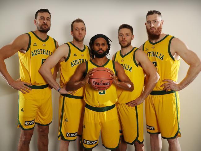 Australian basketball players Andrew Bogut, Joe Ingles, Patty Mills, Matthew Dellavedova and Aron Baynes. Picture: Alex Coppel