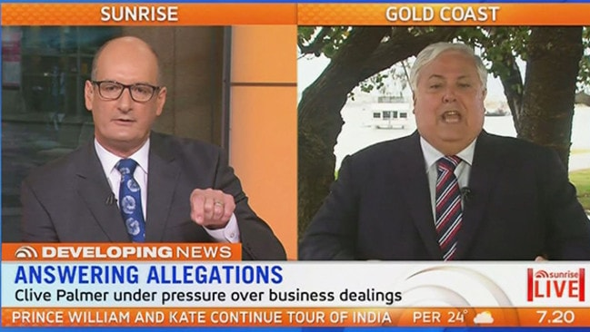 Kochie hit a brick wall - in his own words - when interviewing Clive Palmer on Sunrise this morning.
