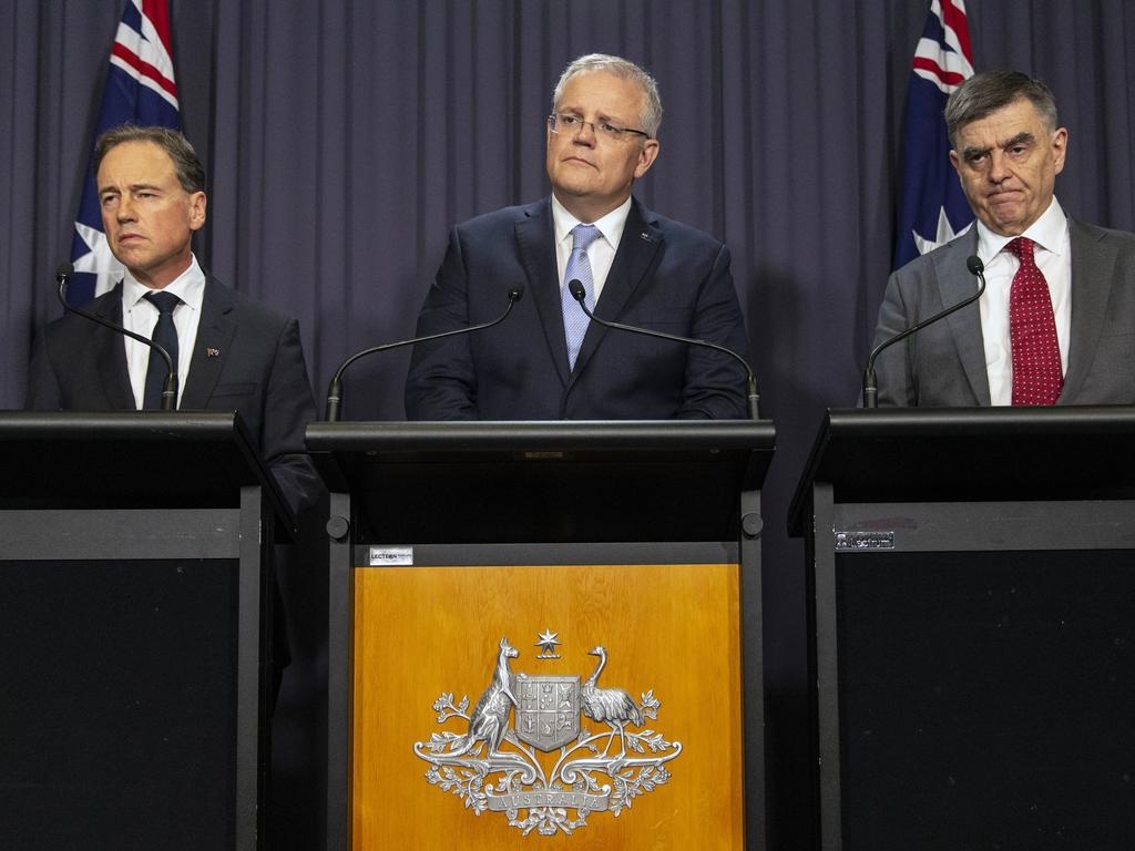Press conference with Prime Minister Scott Morrison, Health Minister Greg Hunt and Australian Government Chief Medical Officer Brendan Murphy. Picture: Gary Ramage