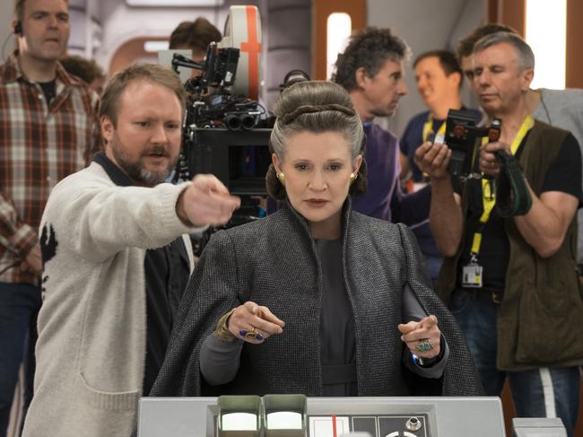 Star Wars: The Last Jedi. L to R: Director Rian Johnson with Carrie Fisher (Leia) on set. Picture: David James ©2017 Lucasfilm Ltd