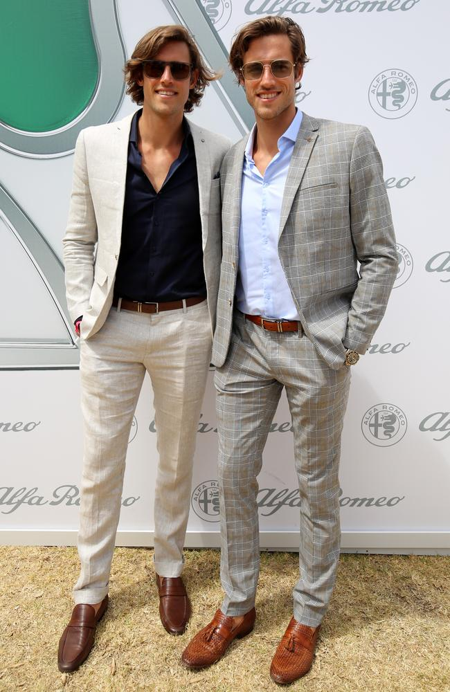 Jordan and Zac Stenmark relax in the Alpha Romeo marquee.