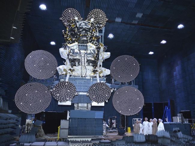 The Sky Muster satellite being prepared for launch.