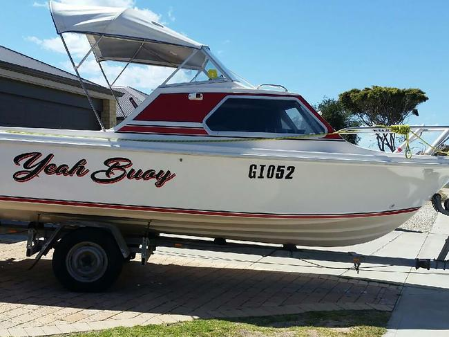 The 5.5m boat on which the party of four men went missing off Perth, WA. Picture: WA Police.
