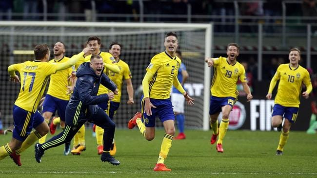 Sweden's players celebrate.