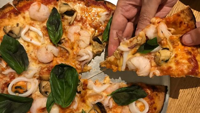 Seabreeze Hotel's Seafood Woodfired Pizza. Picture: Jenifer Jagielski