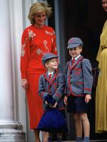 Princess Diana with her sons Prince William and Prince Harry standing on the steps of Wetherby School on the first day for Prince Harry. Picture: Getty