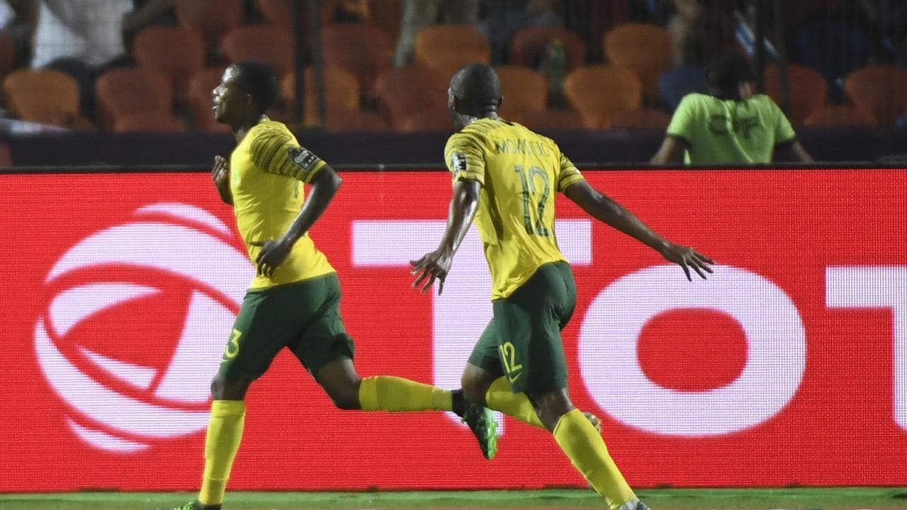 South Africa's Thembinkosi Lorch wheels away in celebration