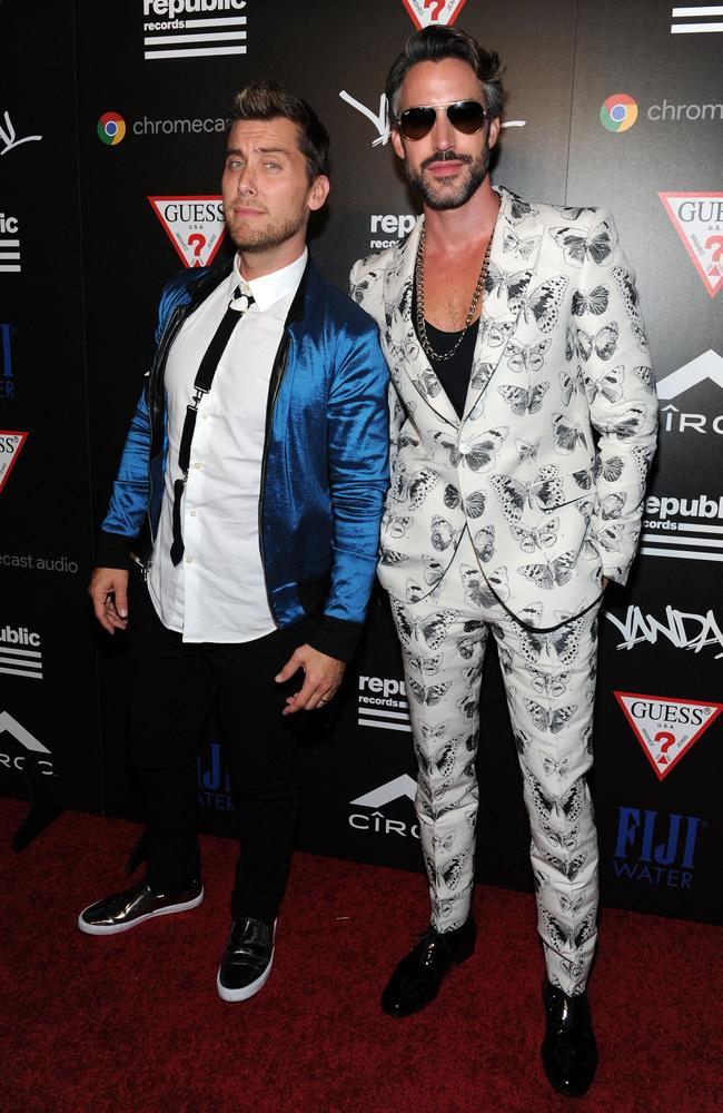 Lance Bass (left) made an appearance at the Republic Records VMA party. Picture: Craig Barritt/Getty Images for FIJI Water