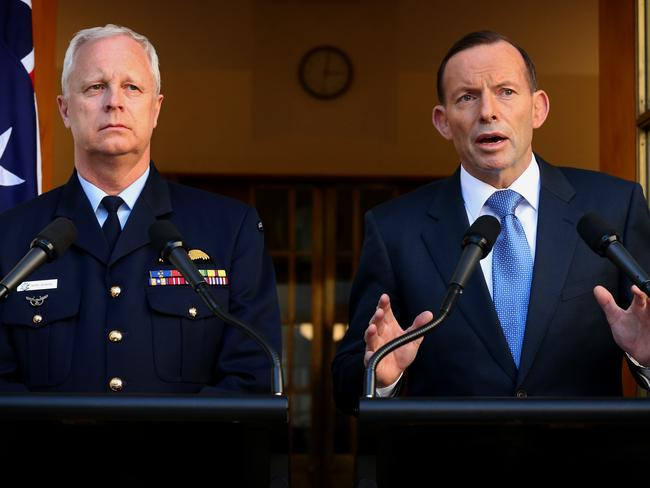PM Tony Abbott and CDF Air Chief Marshal Mark Binskin hold a joint press conference in Canberra to detail Australia's role in Iraq.