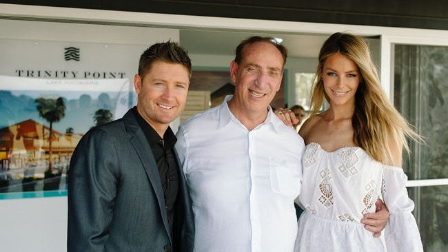 Michael Clarke and Jennifer Hawkins pictured with Johnson Property Group managing director Keith Johnson. The pair are brand ambassadors for Trinity Point.