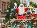 Father Christmas arrives with his sleigh and reindeer. Photo Naomi Jellicoe.