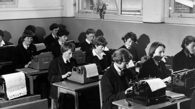 Warrnambool Technical school students learning on typewriters in 1953. Picture: supplied