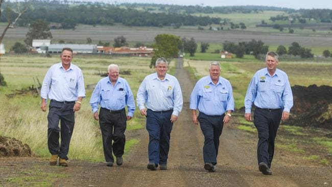 Joe, Henry, Neill, John and Denis Wagner at their airport site. Picture: David Martinelli