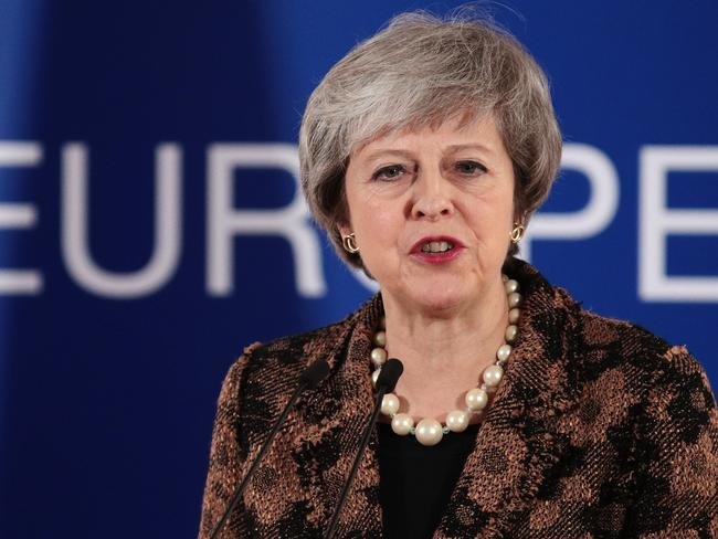 British Prime Minister Theresa May holds a press conference at the European Council during the two day EU summit on December 14, 2018 in Brussels, Belgium. Picture: Getty Images