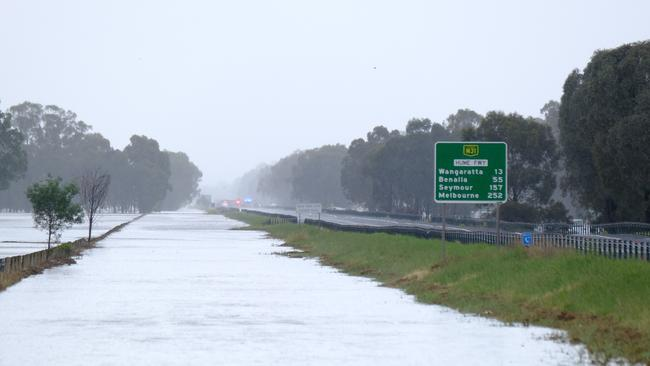 Flooding between Springhurst and Wangaratta on the Hume Freeway. Picture Simon Dallinger