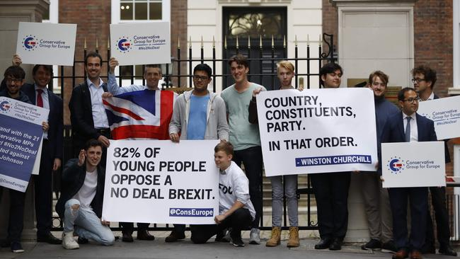 Young members of the Conservative Party are still protesting their opposition to leaving the European Union with a deal. Picture: Tolga Akmen/AFP.