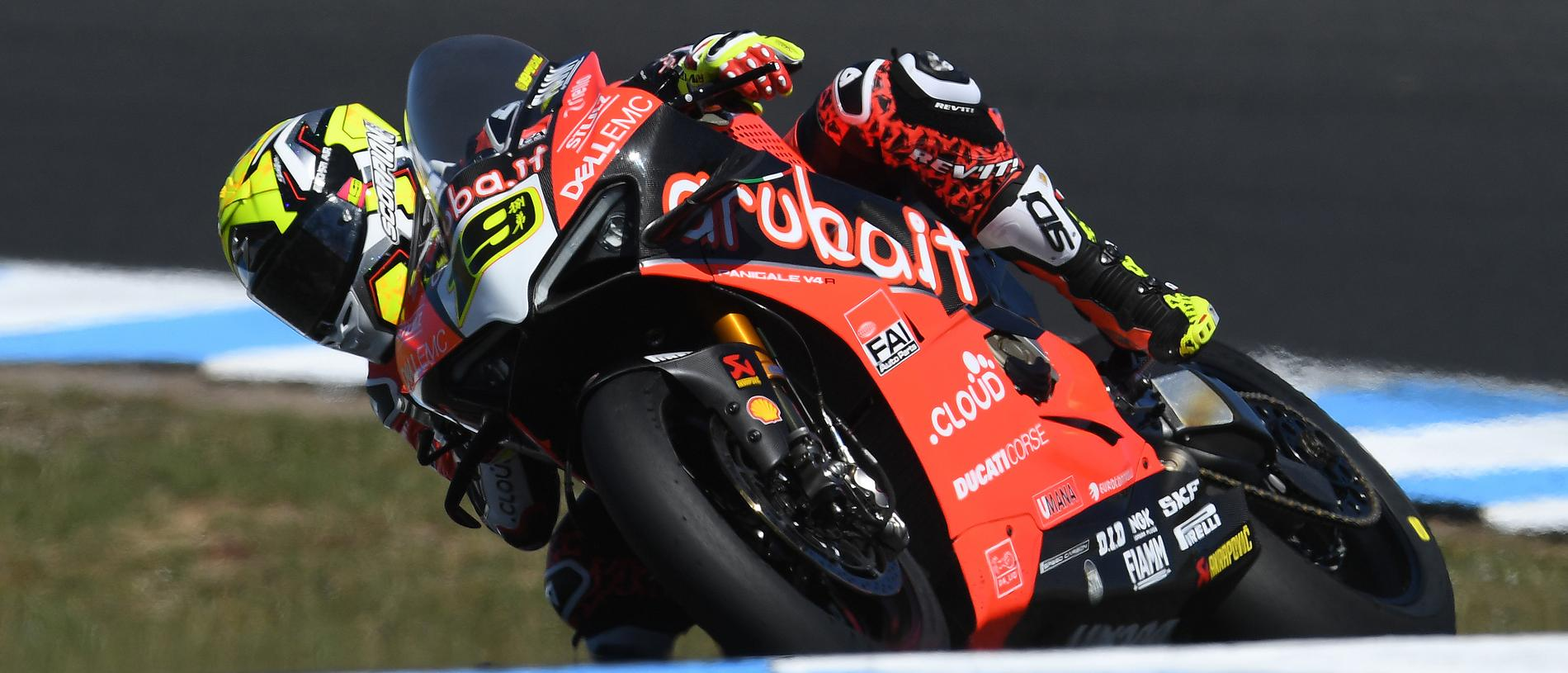 Alvaro Bautista of Spain is seen in action during race 1 on day 2 of the 2019 MOTUL FIM Superbike World Championship at Phillip Island Grand Prix Circuit on Phillip Island, Saturday, February 23, 2019. (AAP Image/Julian Smith) NO ARCHIVING, EDITORIAL USE ONLY