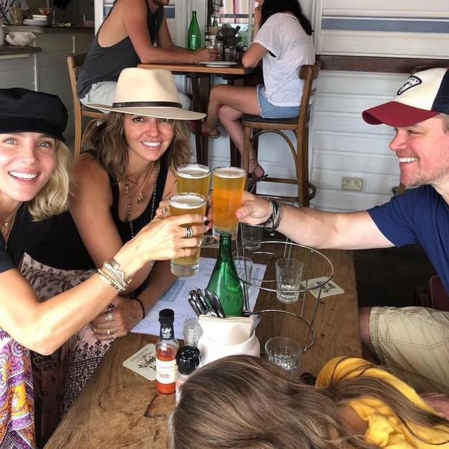 Matt Damon (right) with Elsa Pataky and his wife Luciana Barroso attend Bluesfest at Byron Bay. Picture: Instagram @elsapatakyconfidential