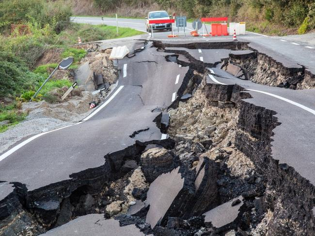 Earthquake damage near Kaikoura, New Zealand, in 2016 where massive landslides cut off roads.