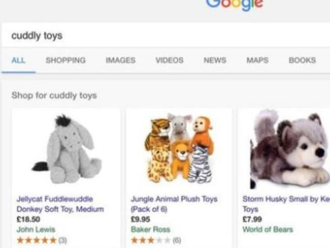 Google Shopping places ads at the top of search results. Picture: Google