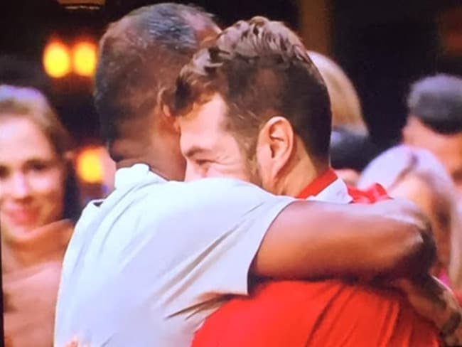 Sashi and Ben hug after they are confirmed as the grand finalists. Picture: Supplied