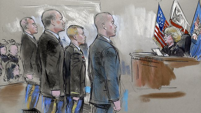 In this courtroom sketch, Army Pfc. Bradley Manning, third from left, stands with lead defense attorney David Coombs, center, and his defense team as Army Col. Denise Lind, right, who is presiding over the trial, reads her verdict during a hearing in a courtroom in Fort Meade, Md., Tuesday, July 30, 2013. Manning was acquitted of aiding the enemy the most serious charge he faced but was convicted of espionage, theft and other charges, more than three years after he spilled secrets to WikiLeaks. (AP Photo/William Hennessy) NO TV, NO ARCHIVE, NO SALES, LOCALS OUT