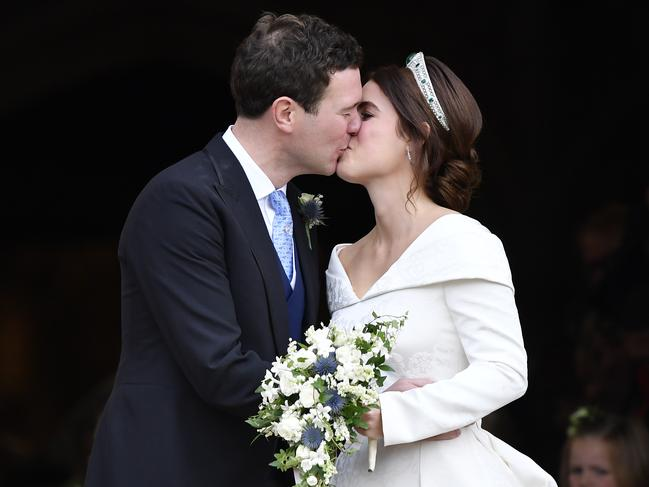 Eugenie and Jack got the full royal wedding experience. Picture: Toby Melville – WPA Pool/Getty Images