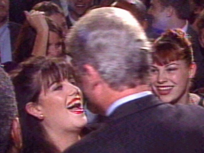 Former White House intern Monica Lewinsky greeting US president Bill Clinton at time of their affair in 1996. Photo: Supplied