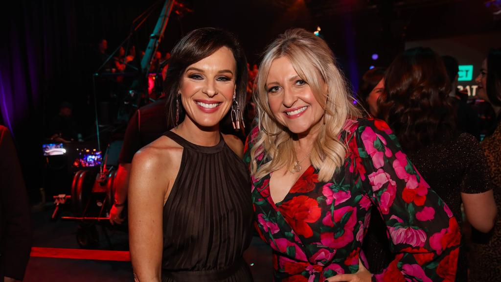 Angela Bishop, right, alongside her Channel 10 colleague Natarsha Belling. Picture: Channel 10
