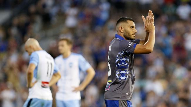 Andrew Nabbout of the Jets thanks the crowd as he leaves the field during the Round 22 A-League match between the Newcastle Jets and Sydney FC