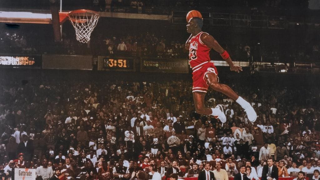 Michael Jordans Iconic Free Throw Line Dunk