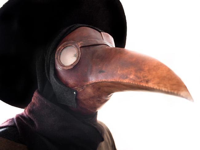 A gas mask worn by plague doctors. The plague was believed to be spread by birds and many thought dressing like a bird could draw out the disease from the patient and onto the garment instead.