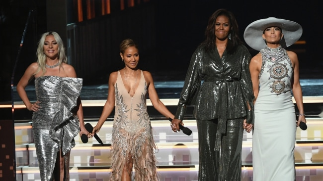 Michelle Obama has even appeared at the Grammys. Image: Getty