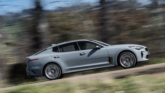 The Kia Stinger V6 on standard suspension felt more composed on bumpy roads than it did with the adjustable dampers on the flagship GT. Picture: Supplied.