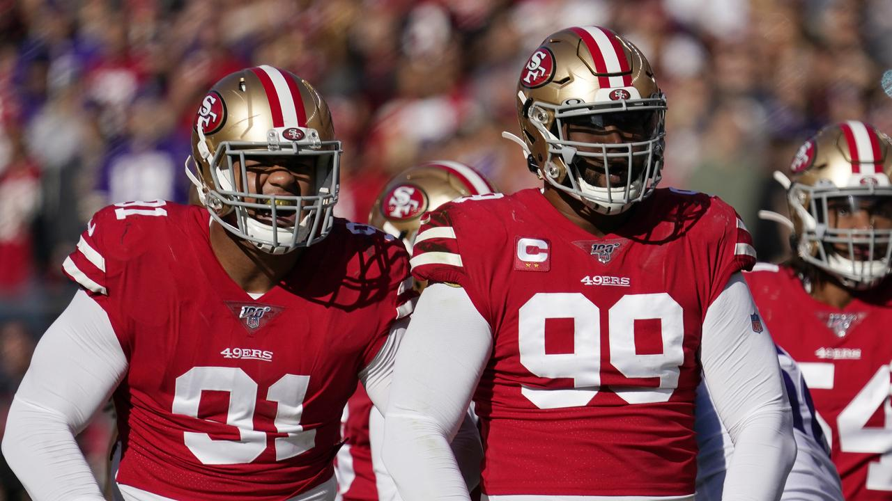 The defending NFC champion 49ers signed Armstead (left) to a five-year contract worth up to $85 million to keep him off the open market and then immediately agreed to a deal to send Buckner (right) to Indianapolis. (AP Photo/Tony Avelar, File)
