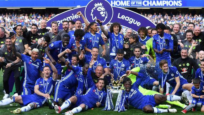 Chelsea with the Premier League trophy.