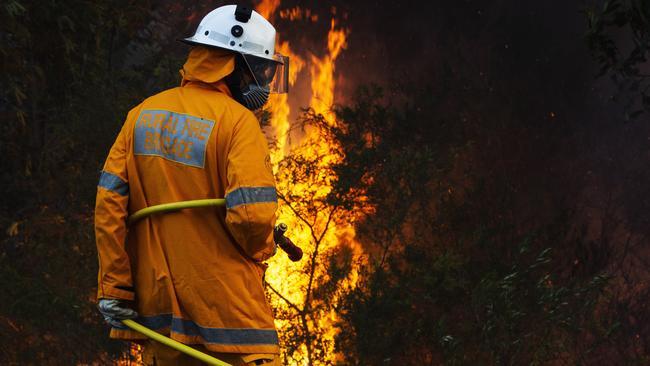 Rural firefighters work to control a blaze near the Sunshine Coast Motorway near Peregian Springs. Picture: Lachie Millard